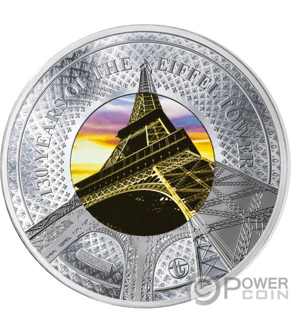 EIFFEL TOWER 130th Anniversary Translucent Treasures 5 Oz Silver Coin 10$ Solomon Islands 2019
