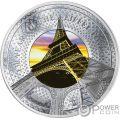 EIFFEL TOWER 130 Aniversario Translucent Treasures 5 Oz Moneda Plata 10$ Solomon Islands 2019
