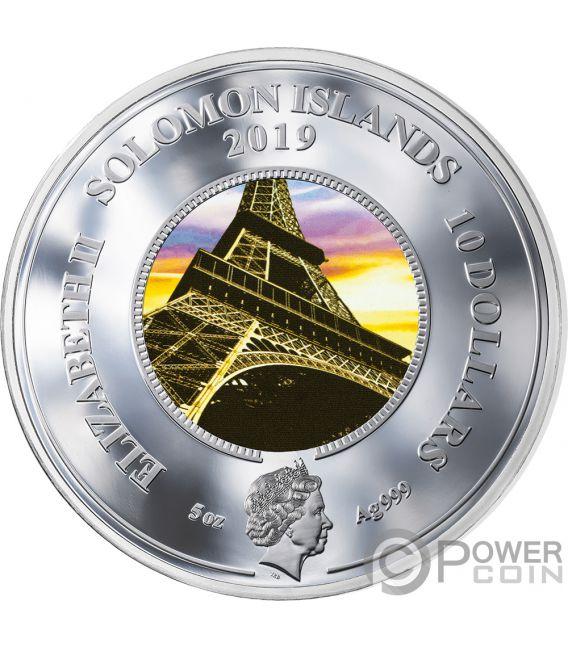 EIFFEL TOWER Eiffelturm 130 Jahrestag Translucent Treasures 5 Oz Silber Münze 10$ Solomon Islands 2019
