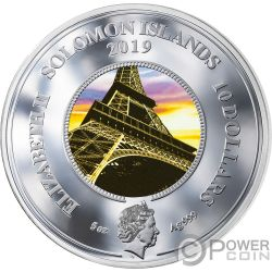 EIFFEL TOWER 130 Anniversario Translucent Treasures 5 Oz Moneta Argento 10$ Solomon Islands 2019