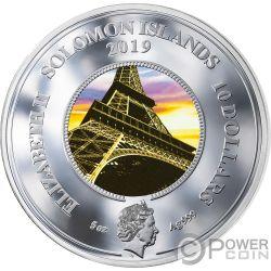 EIFFEL TOWER 130 юбилей Translucent Treasures 5 Oz Монета Серебро 10$ Соломоновы Острова 2019