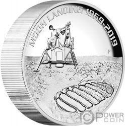 MOON LANDING Luna 50 Aniversario 5 Oz Moneda Argento 8$ Australia 2019