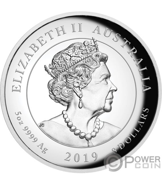 MOON LANDING 50th Anniversary 5 Oz Silver Coin 8$ Australia 2019