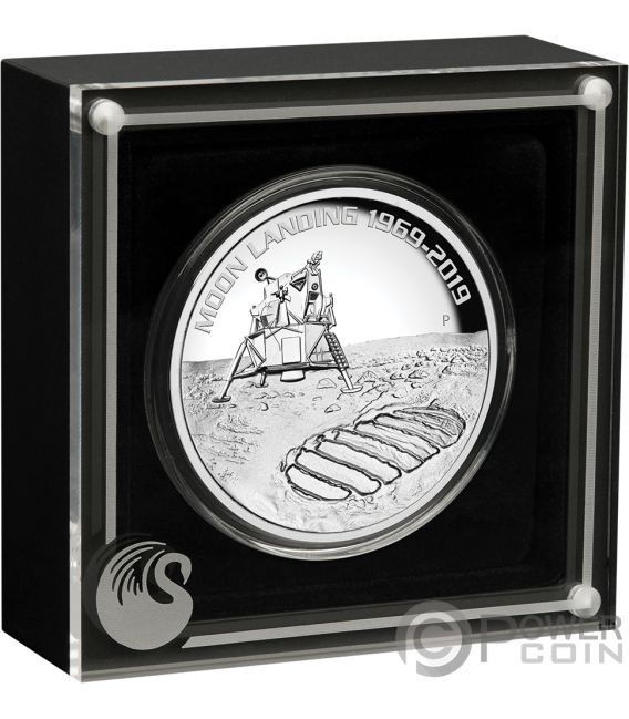MOON LANDING Mond 50 Jahrestag 5 Oz Silber Münze 8$ Australia 2019