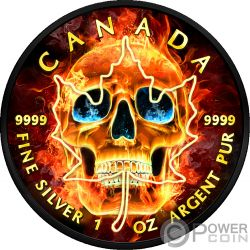 BURNING SKULL Teschio in Fiamme Foglia Acero Maple Leaf Rutenio 1 Oz Moneta Argento 5$ Canada 2018