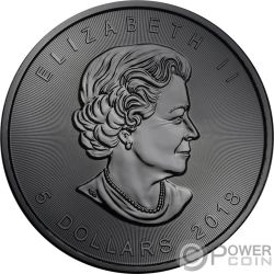 BURNING SKULL Maple Leaf Ruthenium 1 Oz Silver Coin 5$ Canada 2018