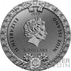 AZTEC CALENDAR STONE Календарь 2 Oz Монета Серебро 2$ Ниуэ 2019