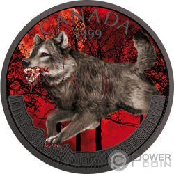 WOLF Lobo Enloquecido Mad Animals Rutenio 1 Oz Moneda Argento 5$ Canada 2018