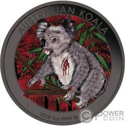 KOALA Pazzo Mad Animals Rutenio 1 Oz Moneta Argento 1$ Australia 2018