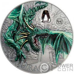 GREEN DRAGON Дракон Mythical Creatures 2 Oz Монета Серебро 10$ Палау 2019