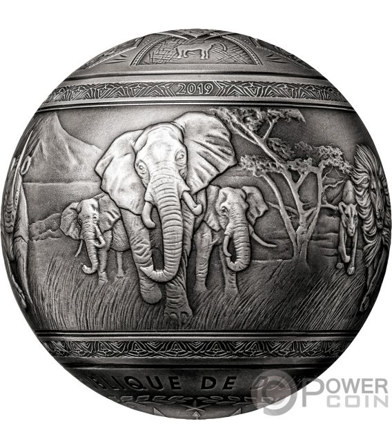 BIG FIVE Spherical 1 Kg Silver Coin 1000 Francs Djibouti 2019