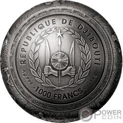 BIG FIVE Esférico 1 Kg Moneda Plata 1000 Francs Djibouti 2019