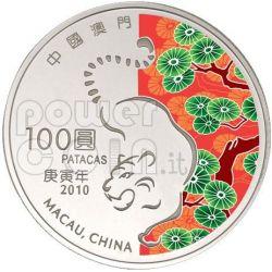 TIGER Lunar Year 5 Oz Silver Proof Coin 100 Patacas Macau 2010