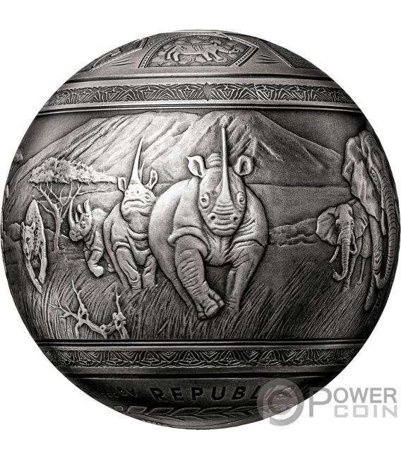 BIG FIVE Kugelförmig 1 Kg Silber Münze 1000 Francs Djibouti 2019