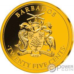 ROBINSON CRUSOE 300 Anniversario Set Monete Placcate Oro 25 Centesimi Barbados 2019