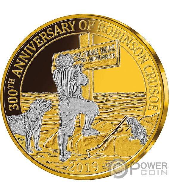 ROBINSON CRUSOE 300th Anniversary Set Gold Plated Coins 25 Cents Barbados 2019