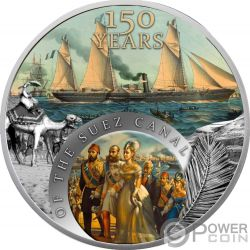 SUEZ CANAL Kanal 150 Jähriges Jubiläum 1 Oz Silber Münze 1$ Niue 2019