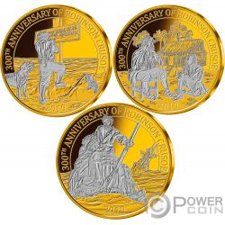 ROBINSON CRUSOE 300 Aniversario Set Monedas Chapado Oro 25 Centavos Barbados 2019