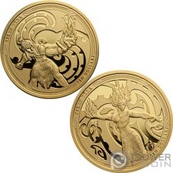MAUI AND THE GODDESS OF FIRE Flamme Tekau Tara Maui Set 2 Gold Münzen 10$ New Zealand 2019