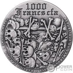 SKULL CHAPEL Calavera 1 Oz Moneda Plata 1000 Francos Cameroon 2019