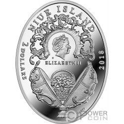 KARELIAN BIRCH EGG Uovo Betulla Faberge Moneta Argento 2$ Niue 2018