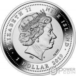 WINGED THOUGHTS Buho Amuleto Moneda Plata 1$ Niue 2019