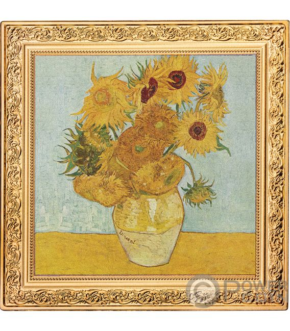 SUNFLOWERS Treasures of World Vincent Van Gogh 1 Oz Silver Coin 1$ Niue 2019
