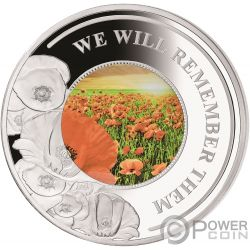 REMEMBER THEM Poppy 5 Oz Silver Coin 10$ Solomon Islands 2019