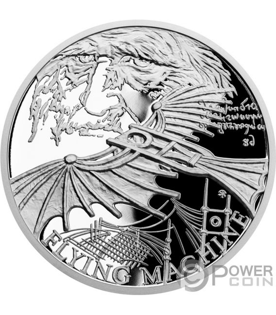 FLYING MACHINE 500th Anniversary Leonardo Da Vinci 1 Oz Silver Coin 1$ Niue 2019