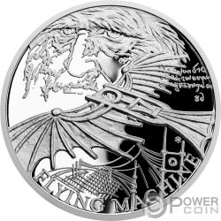 FLYING MACHINE 500 Anniversario Leonardo Da Vinci 1 Oz Moneta Argento 1$ Niue 2019