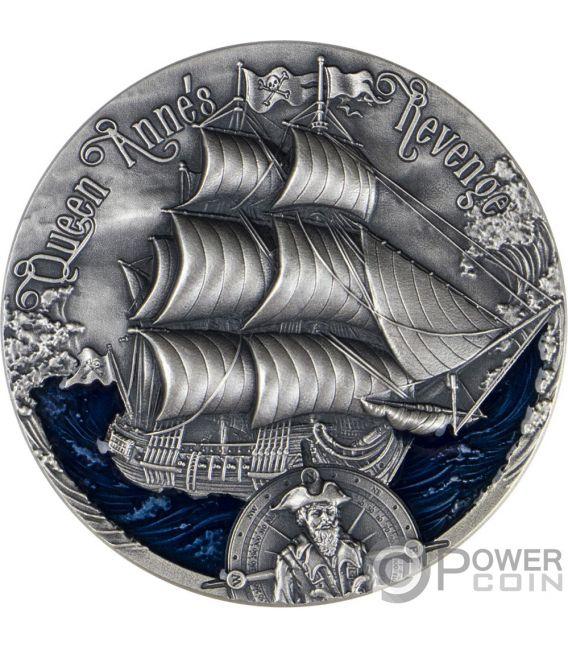 QUEEN ANNES REVENGE Blackbeard Ship 2 Oz Silver Coin 2000 Francs Cameroon 2019