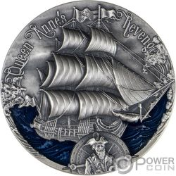 QUEEN ANNES REVENGE Schwarzbart Schiff 2 Oz Silber Münze 2000 Franken Cameroon 2019