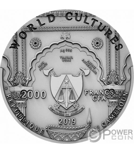 GANESHA World Cultures 2 Oz Moneta Argento 2000 Franchi Cameroon 2019