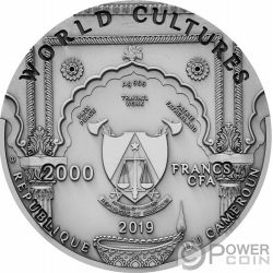 GANESHA World Cultures 2 Oz Moneda Plata 2000 Francos Cameroon 2019