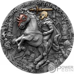 RED HORSE Красный Конь Four Horsemen Of The Apocalypse 2 Oz Монета Серебро 5$ Ниуэ 2019