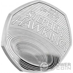 STEPHEN HAWKING Agujeros Negros Proof Moneda Plata 50 Pence United Kingdom 2019