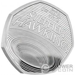 STEPHEN HAWKING Schwarze Löcher Proof Silber Münze 50 Pence United Kingdom 2019