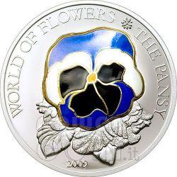 PANSY CLOISONNE Flower Moneda Plata 5$ Cook Islands 2009