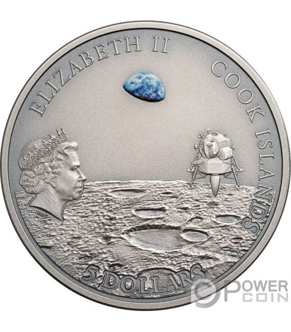 MOON LANDING След Метеорит 1 Oz Монета Серебро 5$ Острова Кука 2019