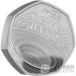 STEPHEN HAWKING Black Holes Piedfort Серебро Монета 50 Пенсов Великобритания 2019