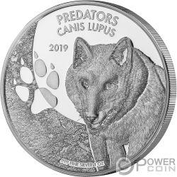 CANIS LUPUS Lupo Predators 1 Oz Moneta Argento 20 Franchi Congo 2019