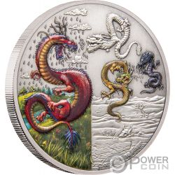 FOUR DRAGONS Draghi Mythical Dragons 2 Oz Moneta Argento 5$ Niue 2019