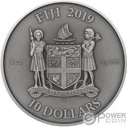 GOTHIC Готика Мандола Искусство 3 Oz Монета Серебро 10$ Фиджи 2019