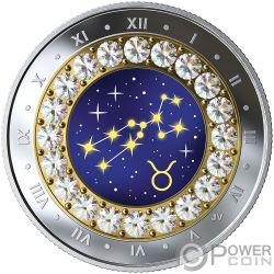 TAURUS Stier Zodiac Swarovski Crystal Silber Münze 5$ Canada 2019