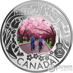 CHERRY BLOSSOMS Blühende Kirschbäume Fun and Festivities Silber Münze 3$ Canada 2019