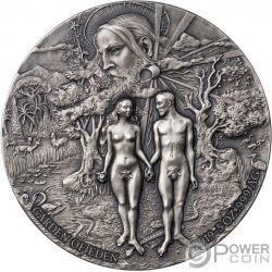 GARDEN OF EDEN Adam Eve 5 Oz Silver Coin 5000 Francs Benin 2019