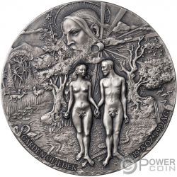 GARDEN OF EVEN Адам Ева 5 Oz Монета Серебро 5000 Франки Бенин 2019
