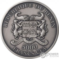 GARDEN OF EDEN Adan Eva 5 Oz Moneda Plata 5000 Francos Benin 2019