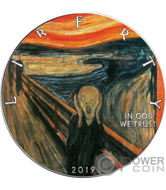 SCREAM Munch Walking Liberty 1 Oz Silver Coin 1$ USA 2019