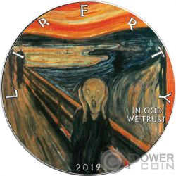 SCREAM Schrei Munch Walking Liberty 1 Oz Silber Münze 1$ USA 2019